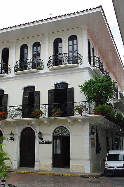 Example of balconies on a colonial city house in the old part of Panama City.
