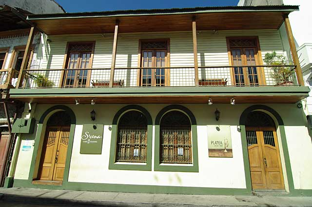 Example of a wooden balcony on a reconstructed colonial city house in the old part of Panama City.
