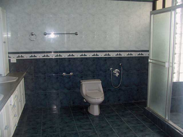 Photo example of a bathroom with blue and white tiles and white bathroom furniture and glass shower sliding doors.