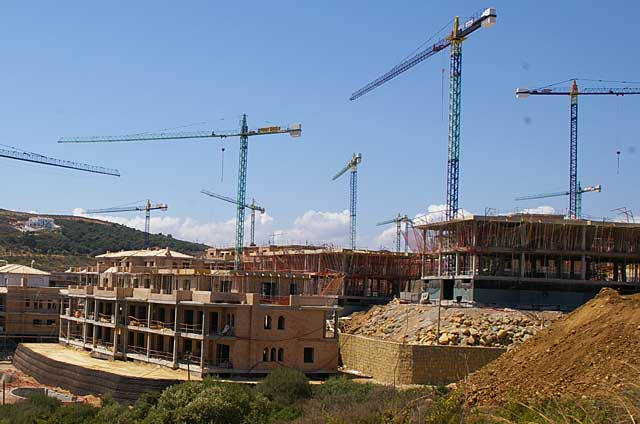 Example of a series of new homes under construction in a new project along the coast near San Roque, La Alcaidesa in Spain