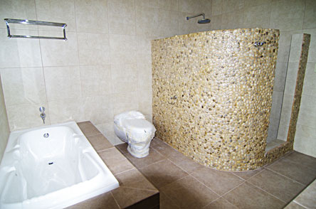 Examples of shower with stone walls, without curtains or glass doors